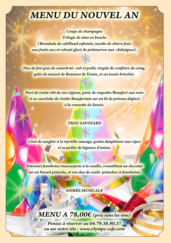 Menu jour de l'an de l'Olympe Café aux Saisies