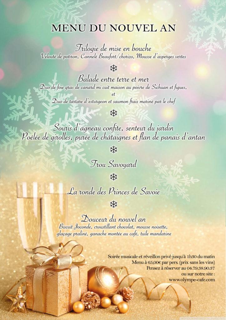 Menu du nouvel an à l'Olympe Café des Saisies